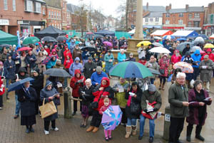 The crowd at Market Harborough's Good Friday 2015 event in the town square