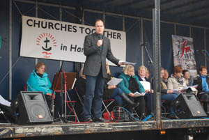 Rev. James Shakespeare leading the service at Market Harborough's Good Friday 2015 event in the town square