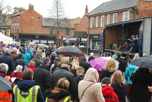 Crowd at Market Harborough's Good Friday 2015 event in the town square