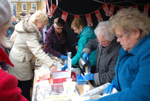 Hunger lunch in aid of Christian Aid at Market Harborough's Good Friday 2015 event in the town square