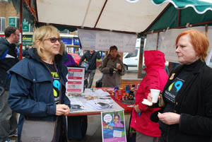 Fairtrade stall at Market Harborough's Good Friday 2015 event in the town square