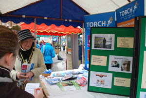 Torch Trust for the blind and The Bower House stall at Market Harborough's Good Friday 2015 event in the town square