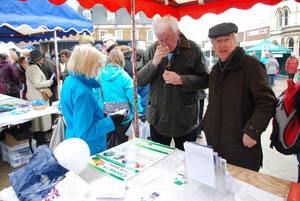 Clockwise Credit Union stall at Market Harborough's Good Friday 2015 event in the town square