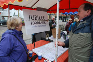 Jubilee Foodbank stall at Market Harborough's Good Friday 2015 event in the town square