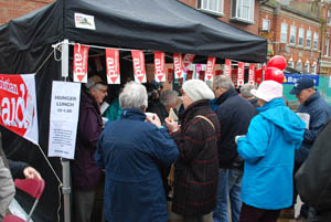 Christian Aid Hunger Lunch stall at Market Harborough's Good Friday 2015 event in the town square