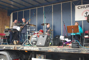 The band at Market Harborough's Good Friday 2015 event in the town square