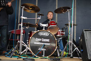 The drummer at Market Harborough's Good Friday 2015 event in the town square
