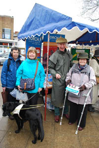 Torch Trust for the Blind stall at Market Harborough's Good Friday 2015 event in the town square