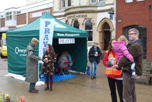 Prayer tent at Market Harborough's Good Friday 2015 event in the town square