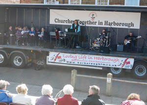 Band playing on the truck 'stage' at Market Harborough's Good Friday 2016 event in the town square